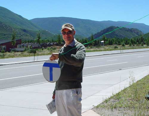 Ueli flagging the Aspen bus to ride to town